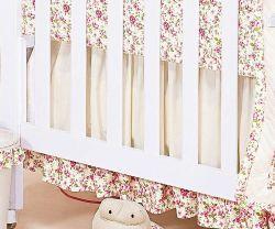 Babado Para Berço 03 Lados - Coleção Florence Baby - 100% Algodão 180 Fios - Palha c/ Rosa