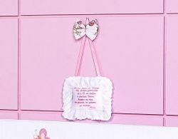 Enfeite de Porta - Coleção Cristal Baby - Oração do Santo Anjo - Rosa