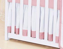 Babado Para Berço 03 Lados - Coleção Belle Rosé - 100% Algodão 200 Fios - Rosé