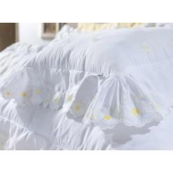 Almofada Decorativa Nuance 01 Peça Bordado 100% Algodão Percal 200 Fios - Branco/Amarelo