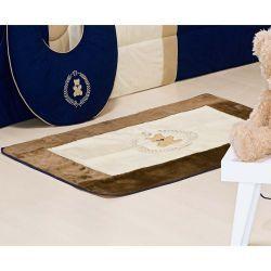 Tapete Pelúcia Antiderrapante - Coleção Bear Marinho - 1,25m x 76cm