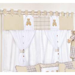 Cortina para Quarto Bebê 2 Metros com 07 Peças Coleção Bears - Caqui