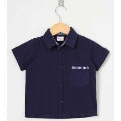 Camisa Lisa Manga Curta 01 Peça Com Bolso Frontal - Azul Tamanho 03