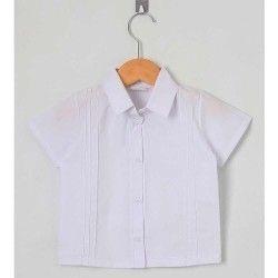 Camisa Lisa Manga Curta 01 Peça Com Detalhe Frontal - Branco Tamanho 03