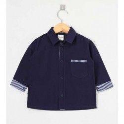 Camisa Lisa Manga Longa 01 Peça Com Bolso Frontal - Azul Tamanho 02