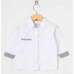 Camisa Lisa Manga Longa 01 Peça Com Bolso Frontal - BrancoTamanho 03