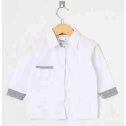 Camisa Lisa Manga Longa 01 Peça Com Bolso Frontal - Branco Tamanho G