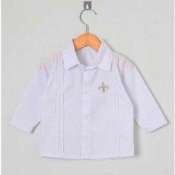 Camisa Lisa Manga Longa 01 Peça Bordado Frontal - Branco Tamanho 03