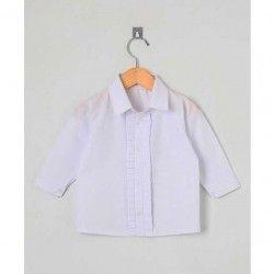Camisa Lisa Manga Longa 01 Peça Detalhe em Pregas  - Branco Tamanho 02