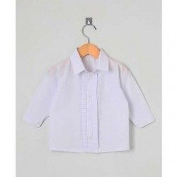 Camisa Lisa Manga Longa 01 Peça Detalhe em Pregas  - Branco Tamanho 03