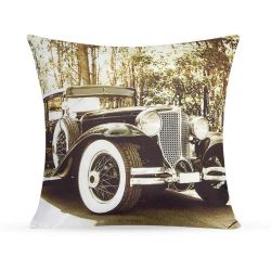 Capa para Almofada Print Retrô Estampada Tecido Microfibra com Zíper - Old Car - Cor 1923