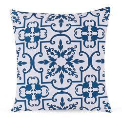 Capa para Almofada Print Mix Estampada Tecido Microfibra com Zíper - Azul Azulejo - Cor 2561