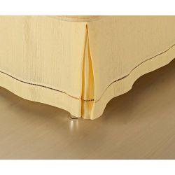 Saia Box para Cama Solteiro Ponto Palito Tecido Capri - Palha