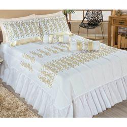 Colcha Casal Queen Carolina 05 Peças - Tecido Voil - Dourado