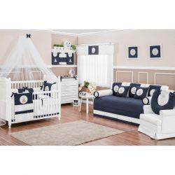 Coleção Completa para Quarto de Bebê Coleção Realeza 17 Peças - Marinho