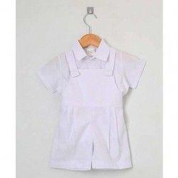 Conjunto para Batizado Jardineira + Camisa Manga Curta Tecido Tricoline 02 Peças - Tamanho 01