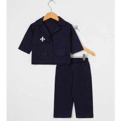Conjunto Lord Calça + Camisa Manga Longa Bordado 02 Peças - Azul Marinho Tamanho 03