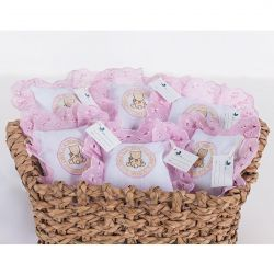 Kit de Lembranças para Bebê Marina 06 Peças com Bordado - Urso Rosa