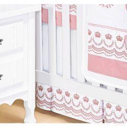 Saia Para Berço 03 Lados Coleção Elegance Rosé 100% Algodão 200 Fios