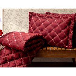Cobre Leito Casal Queen Fiorella 03 Peças Tecido Tafetá - Vermelho