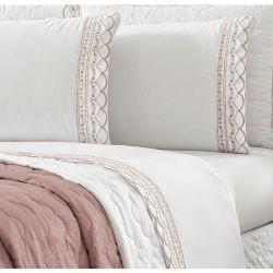 Jogo de Lençol Casal Queen Celine 04 Peças Tecido Percal Misto - Branco/Rosê