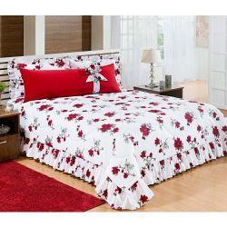 Cobre Leito Casal Padrão Xuxão 04 Peças - Acompanha Travesseiro Xuxão 100% Algodão - 180 Fios - Vermelho