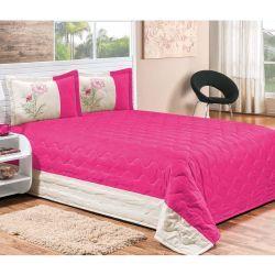 Cobre Leito Casal Queen Jasmim 03 Peças Bordado - Tecido Microfibra Peletizada - Pink