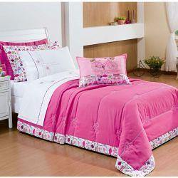 Cobre Leito Solteiro Chanel 03 Peças Acompanha Almofada Bordada - Pink