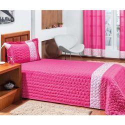 Cobre Leito Solteiro Basic 02 Peças Detalhe Estampado - Pink