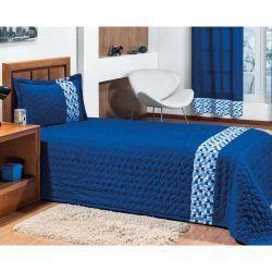 Cobre Leito Solteiro Basic 02 Peças Detalhe Estampado - Azul