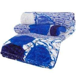 Cobertor Casal Manta de Microfibra 01 Peça (Toque Aveludado) Estampado - Cor 1 Azul