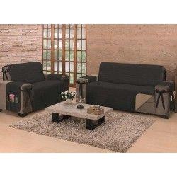 Protetor de Sofá Premium King Kit para 2 e 3 Lugares Dupla Face Tecido 80% Algodão - Caqui/Preto