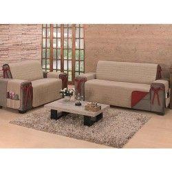 Protetor de Sofá Premium Kit para 2 e 3 Lugares Dupla Face Tecido 80% Algodão - Caqui/Vermelho