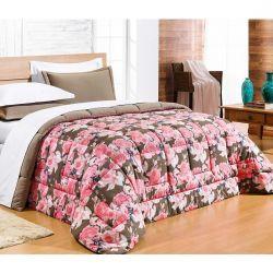 Edredom Casal Super King Safari 01 Peça Estampado DF Malha Penteada - Rosa Floral