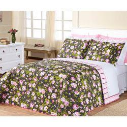 Cobre Leito Casal Padrão Siena DF 03 Peças Tecido Misto Estampado - Rosa Floral
