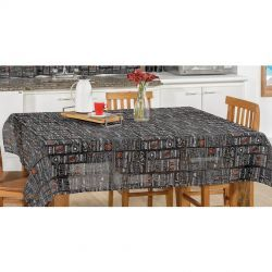Toalha de Mesa retangular Estampada Americano 2,50m x 1,40m Tecido Misto - Preto