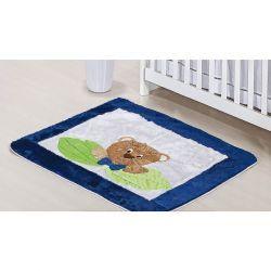 Tapete para Quarto de Bebê de Pelúcia Coleção Urso Nino - Azul
