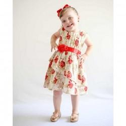 Vestido Jardim das Flores Tecido 100% Algodão Com Faixa de Cetim Vermelho - Tamanho 03