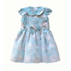 Vestido Mini Dama Tecido 100% Algodão Com Organza Detalhe em Laço - Tamanho 03
