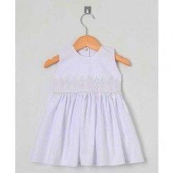 Vestido para Batizado Sem Manga Tecido Tricoline Bordado com Pérola - Tamanho 02