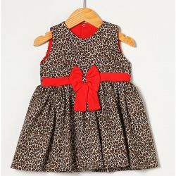 Vestido sem Manga com Laço Onça/Vermelho Tecido Tricoline - Tamanho M