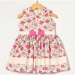 Vestido sem Manga com Laço Palha/Pink Tecido Tricoline - Tamanho M