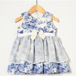 Vestido sem Manga com Laço Floral Azul Tecido Tricoline - Tamanho G