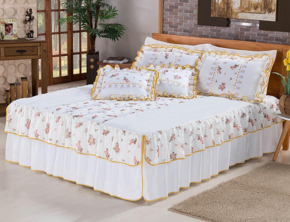 Colcha casal queen rosinha 07 pe as acompanha almofadas - Como hacer una colcha de tela ...