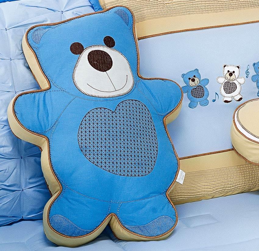 Almofada Decorativa Urso Tamanho Irregular - Cole��o Little Bears - 100% Algod�o - Azul
