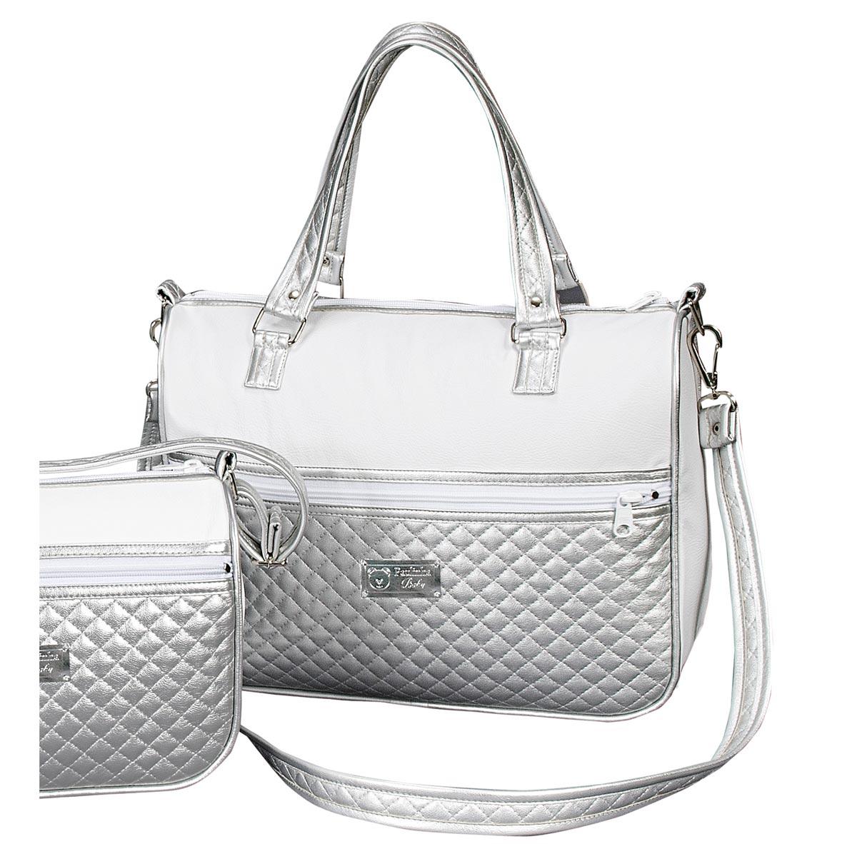 Bolsa Maternidade Coleção Classic 36cm x 31cm x 14cm - Branco / Prata