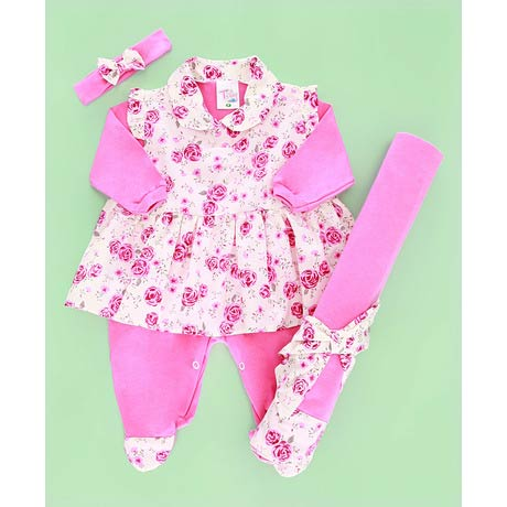 Saida Maternidade Estampado Rosa - Tecido Malha - Rosa - RN