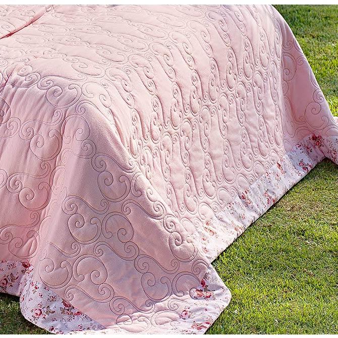 Cobre Leito Casal Queen Lavonne 03 Peças - Malha Penteada/Bordado - Rosê