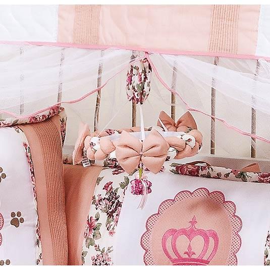 Kit Acesórios Enfeitados c/ 6 Peças - Coleção Princesa Baby - Abajur, Cesta e Móbile