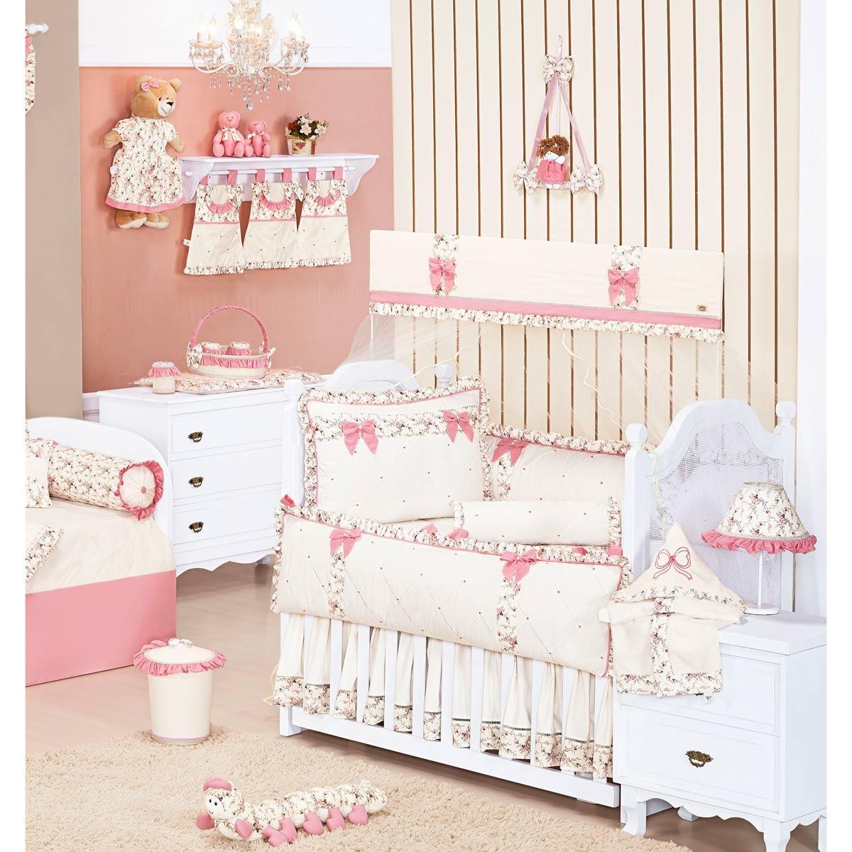 Coleção Completa para Quarto de Bebê Coleção Provençal Palha - 32 Peças